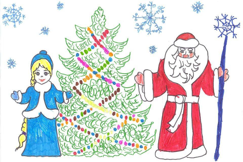 Рисунок на новый год для детей 8 лет